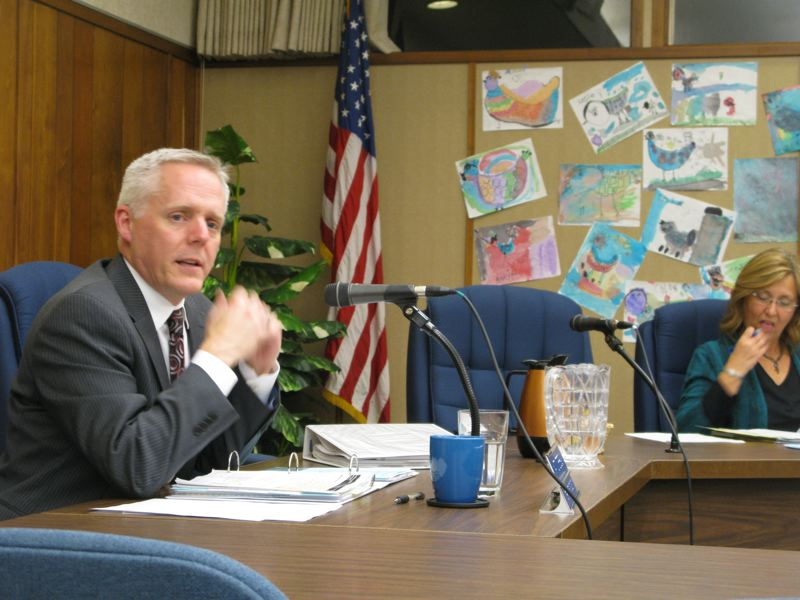 by: PHOTO BY RAYMOND RENDLEMAN - Matt Utterback, interim superintendent speaking at the North Clackamas School Board meeting Nov. 15, focuses on academic disparities and student achievement.