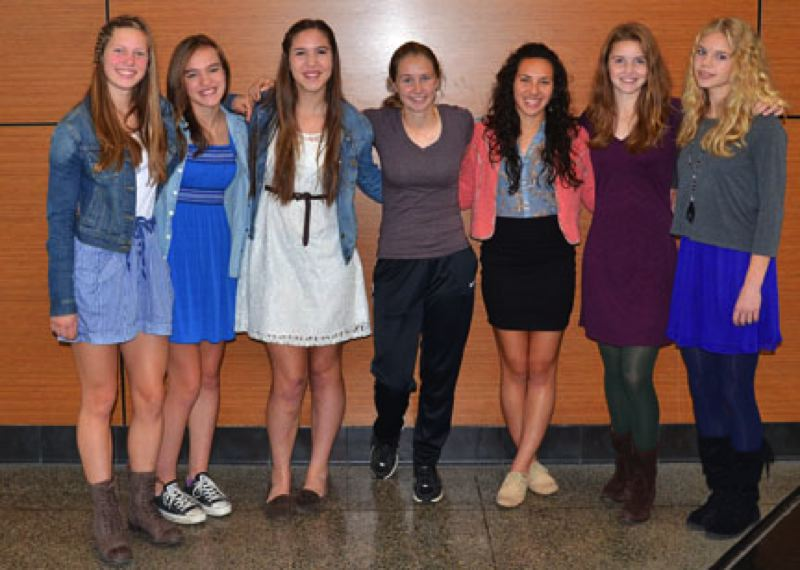 by: JOHN BREWINGTON - Members of the Scappoose High girls' soccer team receiving Cowapa League All-League honors included: (from left) Eleanor Jones, Natalie Muth, Emily Muth, Amara Templin, Ariel Viera, Lucy Davidson, Charlie Davidson. Viera was Cowapa League Player of the Year.