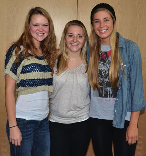 by: JOHN BREWINGTON - Members of the Scappoose High volleyball team receiving Cowapa League All-League honors included: (from left) Phlycia Haigh (first team), Cassidy Herb (honorable mention), and Lexine Loos (first team).