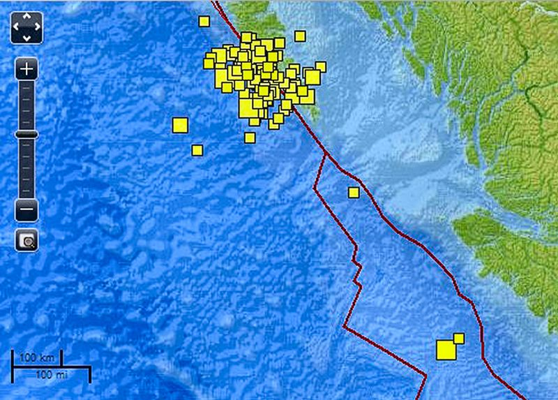 by: COURTESY USGS - This graphic from the U.S. Geological Survey, as of November 8th, shows the 110 earthquakes in the unusual swarm that began with a 7.8 shaker north of Vancouver Island on October 27 and continued every day after that - and it also shows the two earthquakes, one of which measured 6.3, that took place to the south on the same fault system, just west of Vancouver Island itself, on November 8.