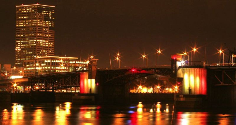 by: FILE PHOTO: PORTLAND TRIBUNE - A well-lit Morrison Bridge was among four Multnomah County bridges that have been named to the National Register of Historic Places. The downtown Portland bridges were nominated for the honor in February.