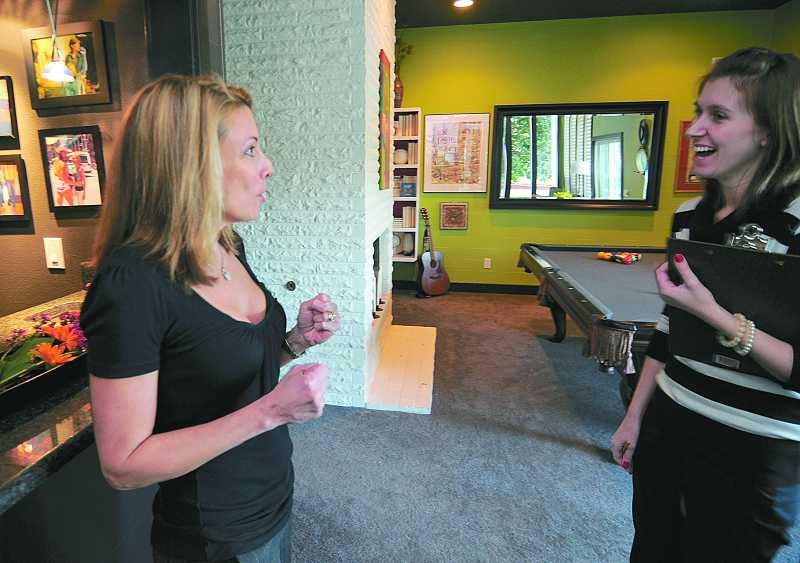 by: FILE PHOTO: VERN UYETAKE - Nicole DeCosta interviews Gretchen Schauffler, creator of Devine Color, in her Lake Oswego home.
