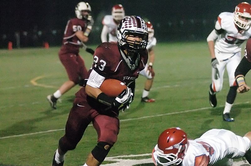 by: DAN BROOD - TOP RUSHER -- Sherwood High School senior Cristian Morris has rushed for 1,552 yards and 21 touchdowns on the season going into the Bowmen's Class 5A state semifinal playoff game with Silverton.