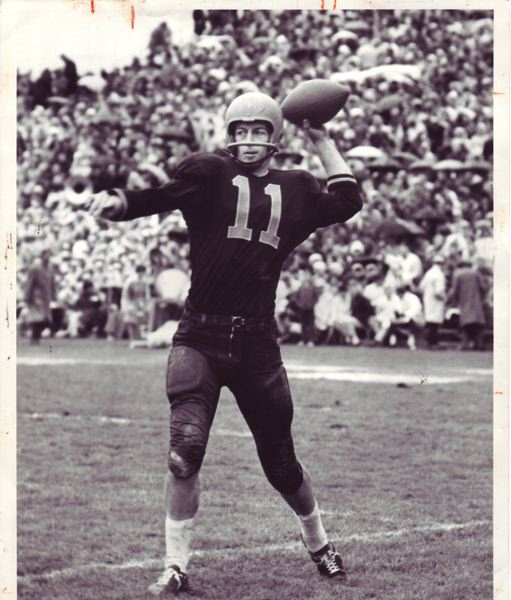 by: COURTESY OF OREGON STATE UNIVERSITY - Terry Baker warms up at quarterback for Oregon State, en route to winning the Heisman Trophy in 1962.