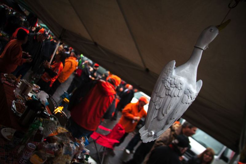 by: TRIBUNE PHOTO: MEG WILLIAMS - A 'duck' hangs in a Beaver fan's tent before Saturday's Civil War game in Corvallis.