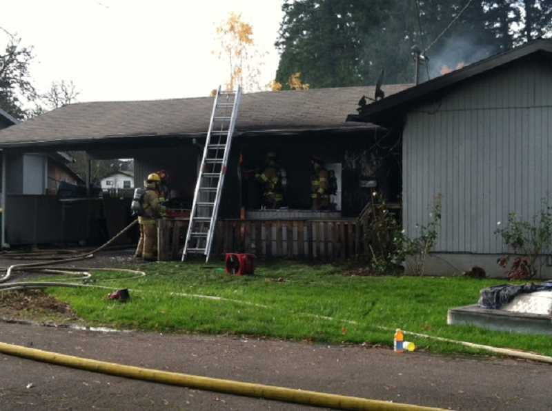by: TVF&R - Tualatin Valley Fire & Rescue firefighters quickly knocked down a Tuesday afternoon fire that destroyed a Beaverton home.