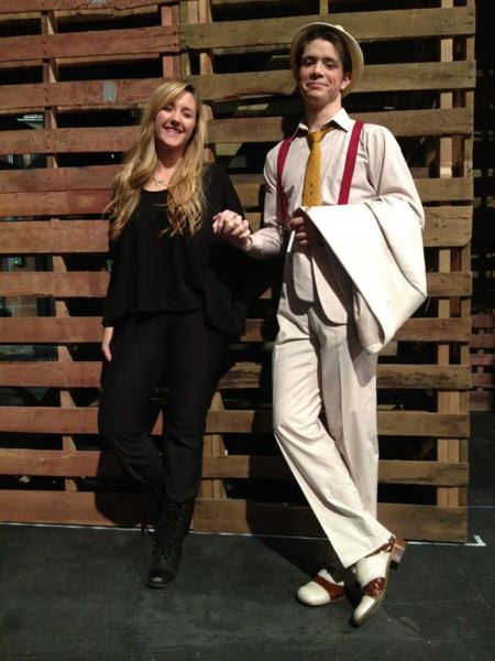 by: SUBMITTED PHOTO - Blake Cranston is in costume as Sebastian, while Jorie Jones is wearing her black clothing as part of the set and props crew in Shakespeare's 'The Tempest,' which ran at Central Washington University earlier in November.