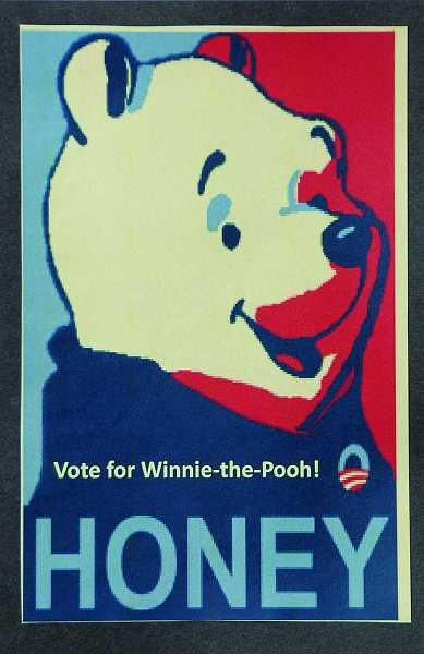 by: VERN UYETAKE - A Winnie the Pooh campaign poster from the West Linn Public Library's Best Bear Election.