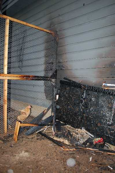 by: SUBMITTED - The fire burnt a 10-by-10 foot patch of siding on the garage and portions of the chicken coop.