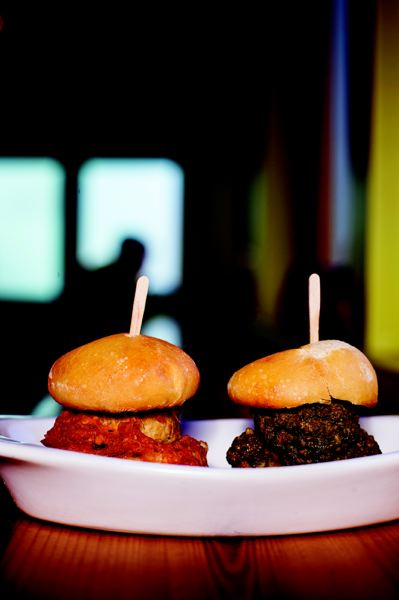 by: TRIBUNE PHOTO: CHRISTOPHER ONSTOTT - The Ocean's 24th and Meatballs features meatballs galore, including classic tomato basil (left) and hazelnut arugala pesto sliders.