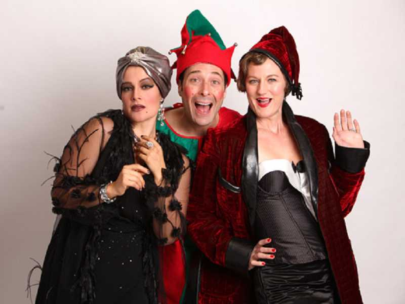 by: CRAIG MITCHELLDYER - MAKING THE BEST OF A SNOWBOUND SITUATION - In Christmas on Broadway, Rebecca Teran (left), Norman Wilson and Amanda Valley play would-be New York actors snowbound in a Broadway theater who put on their own show using props and costumes.