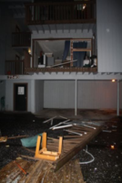 by: WASHINGTON COUNTY SHERIFF'S OFFICE - Furniture and belongings were blown out of apartment by Thursday evening explosion.