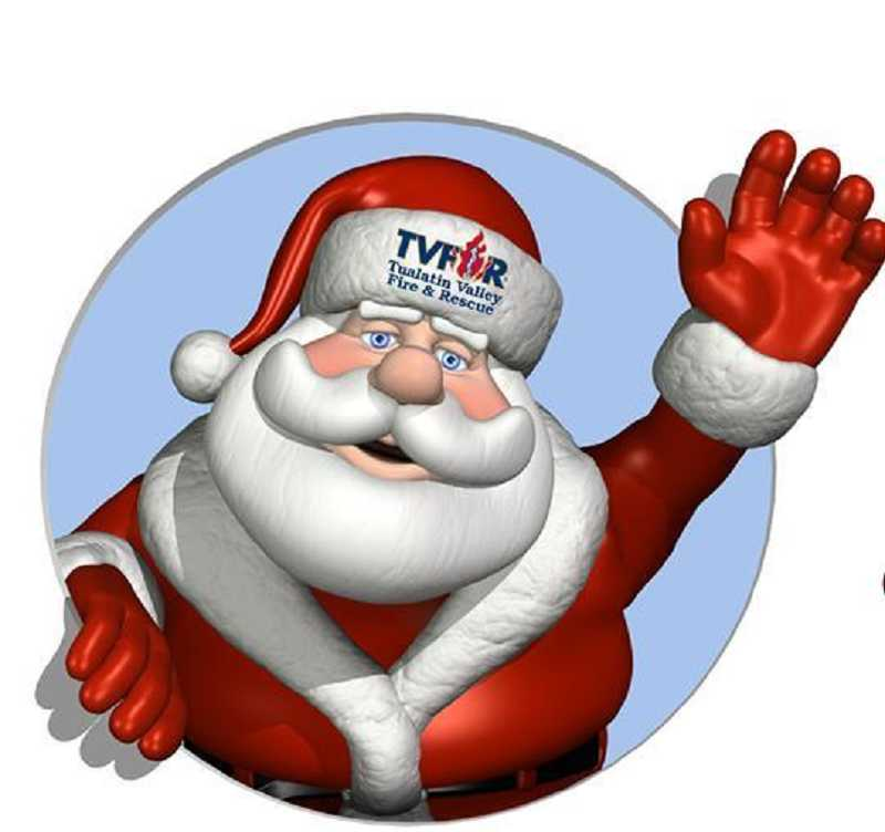 by: COURTESY OF TVF&R - Santa will be at the Sherwood station of Tualatin Valley Fire & Rescue on Saturday afternoon providing fire engine rides to all children.