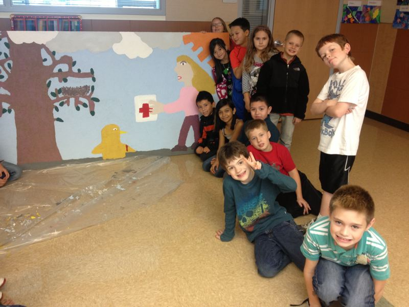 by: NORTH CLACKAMAS SCHOOL DISTRICT - Third-graders from Duncan Elementary are proud of their mural that will be on display at the Portland International Raceway's Winter Wonderland light show this month.