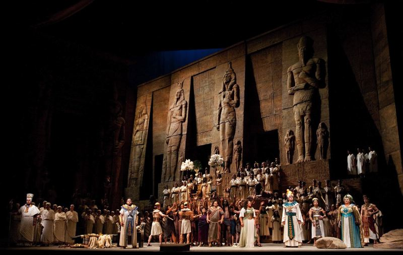 by: MARTY SOHL/MET OPERA  - North Clackamas high school students will feast their eyes on the massive set of 'Aida' on Dec. 15 at Century Clackamas Town Center cinemas.