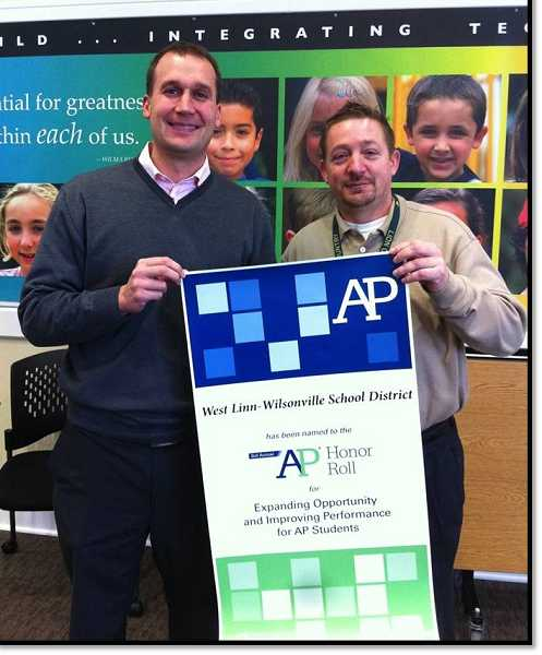 by: SUBMITTED PHOTO  - Wilsonville High School Principal Aaron Downs and West Linn High School Principal Lou Bailey recently accepted the AP Honor Roll award.