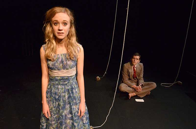 by: TIDINGS PHOTO: VERN UYETAKE - Roxanne Stathos plays Eurydice and Tristan Avery plays her father.