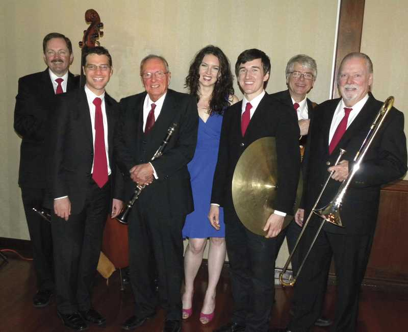 by: SUBMITTED PHOTO - The Jim Beatty Jazz Band will present a Christmas event at the Milwaukie Elks Lodge on Dec. 16. The event is hosted by the Portland Dixieland Jazz Society. Pictured are, from left, Dave Duthie, Reece Marshburn, Jim Beatty, Marianna Thielen, Sam Foulger, Dave Johnson and Pat O'Neal. SUBMITTED PHOTO