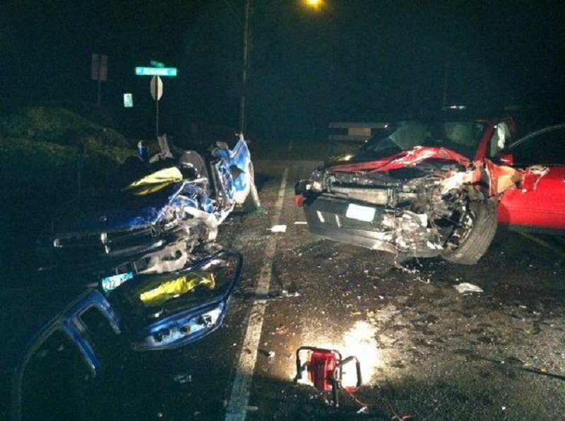 by: SUBMITTED PHOTO: WCSO - Washington County sheriff's deputies are investigating an alcohol-related crash Monday night that severely damaged both vehicles involved.