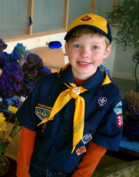 by: CONTRIBUTED PHOTO - Matthew Weselak, 7, was one of eight winners of a water-themed essay contest invited to bring his Cub Scout den for a free day at Evergreen Wings & Waves Waterpark.