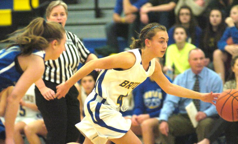 by: THE OUTLOOK: DAVID BALL - Barlow guard Bethany Leliefeld drives around a Grant defender during Fridays nonleague win.