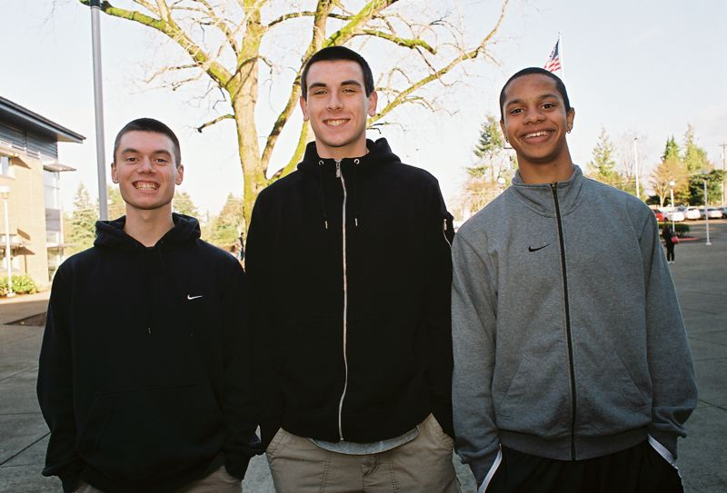 by: JOHN DENNY - Oregon City seniors (from left) Cody Hole, Nolen Muckenthaler and Valentino Polk have high expectations for Oregon City High Schools boys basketball team this winter. The Pioneers have been impressive in early preseason, earning wins over McKay (65-58), Liberty (40-22) and Centennial (56-41), all on the road.