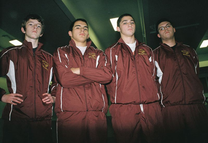 by: JOHN DENNY - Milwaukie veterans (from left) Mitchell Ponnay, Eric Lippi, Brenton Oten and Rene Ramos believe the Mustangs will surprise some people in Northwest Oregon Conference wrestling this winter. Lippi says the intensity is up in the wrestling room, and he believes the Mustangs can rally their troops around a warrior mentality.