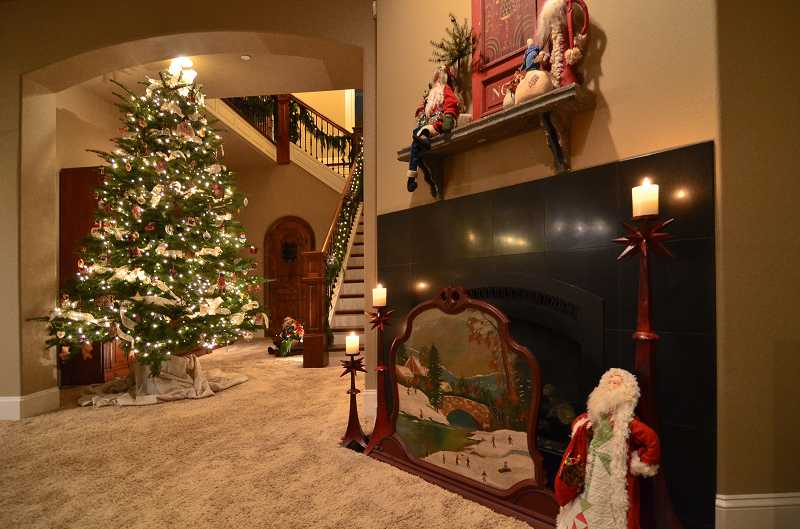 The downstairs family room features punchy Christmas colors and a Santa collection.