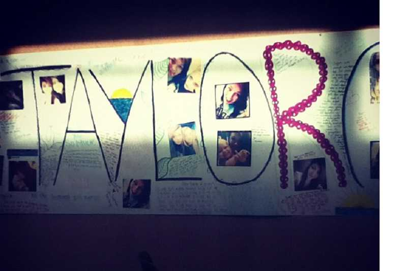 by: SUBMITTED PHOTO: MADISON STATEN - Students at West Linn High School made a banner in honor of Taylor Combs.