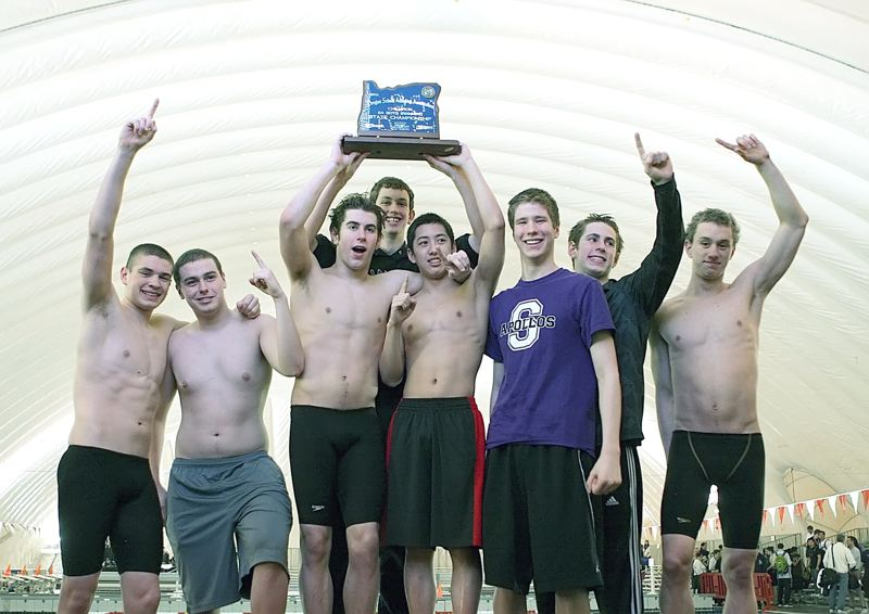 by: MILES VANCE - IN THEIR ELEMENT - The Sunset boys swim team ended up on top of the standings at state for the second strraight time in 2012, and are aiming to repeat this scene again at the conclusion of the ongoing 2012-13 season.