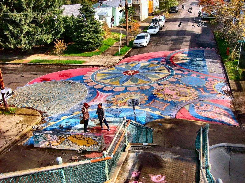 by: RITA A. LEONARD - The new street painting at the Brooklyn Street Skate Spot resembles a heart, when viewed overhead from the pedestrian footbridge at the site.
