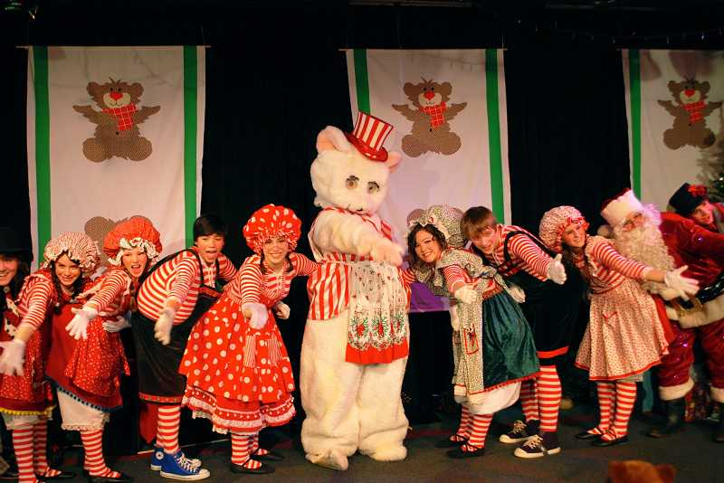 by: SUBMITTED PHOTO  - The whole cast shows their affection for their fuzzy friend singing 'Good Old Peppermint Bear.'