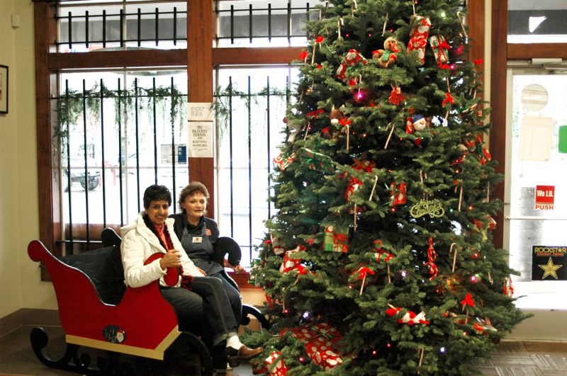 by: NEWS PHOTO: SCOTT JORGENSEN - Barton Store owner Priti Mittal and employee Nancy Dean pose in Santa's sleigh.