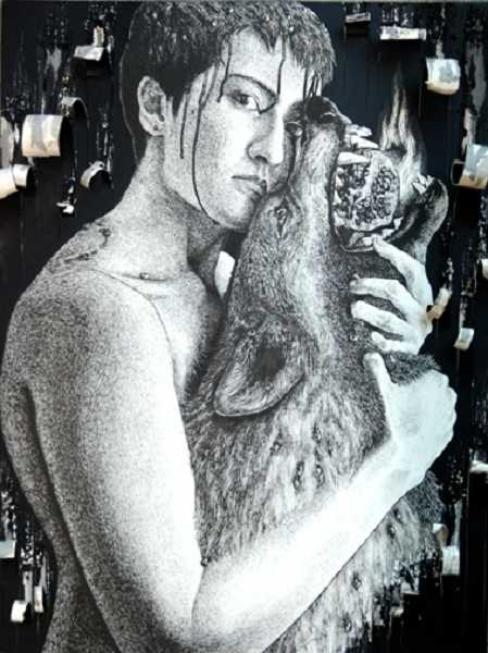 by: SUBMITTED PHOTO  - Emma Kennard's piece, 'Self Portrait With Wolf.'