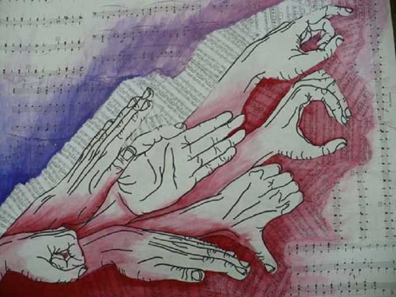 by: SUBMITTED PHOTO  - Leah Olson's mixed media piece, 'Hands and Music.'