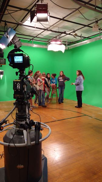 by: SUBMITTED PHOTO - Students learn about broadcasting at the Willamette Falls Media Center studios in Oregon City.