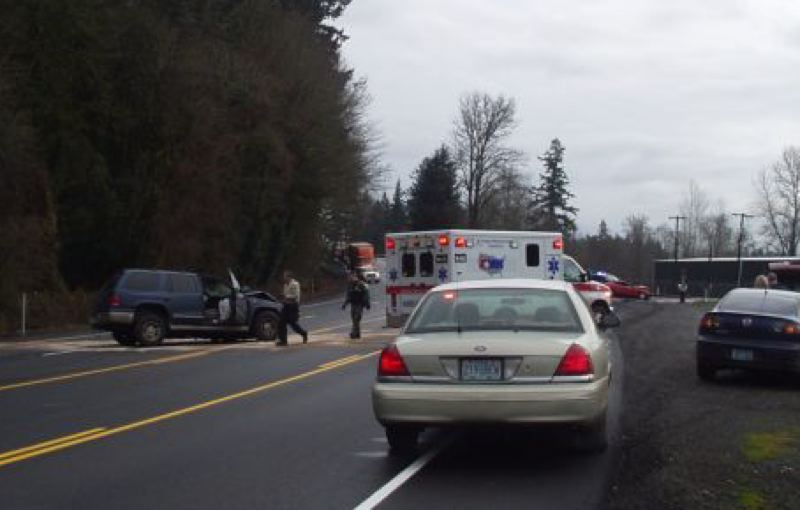 by: OREGON STATE POLICE - A fatal traffic crash blocks South End Road for hours south of Oregon City.