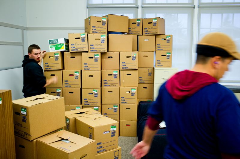 by: TRIBUNE PHOTO: CHRISTOPHER ONSTOTT - Boxes of school supplies from the temporary Rose City Park School will soon be unpacked, replacing only what was there before the fire.