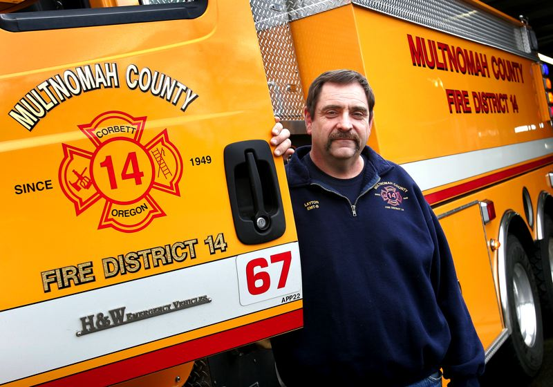 by: OUTLOOK PHOTO: JIM CLARK - After 17 years, Tom Layton is stepping down as fire chief of the Multnomah County Rural Fire Protection District No. 14 in Corbett. He will remain as assistant chief.