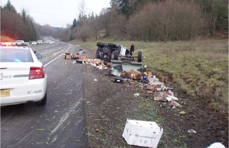 by: OREGON STATE POLICE - Byron Brady lost control of his pickup with a trailer filled with produce began to fishtail on Highway 213.