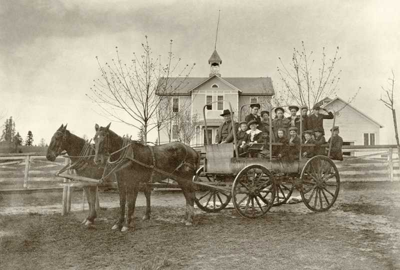 by: OLD OREGON PHOTOS - Children rode to school via horse and wagon in early West Linn.