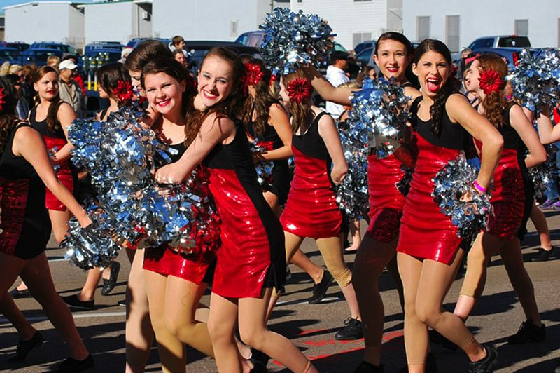 by: COURTESY PHOTO - The only Oregon dance team represented at the Holiday Bowl in San Diego, the Forest Grove High School Vikettes, performs Thursday night during the halftime show at Qualcomm Stadium.