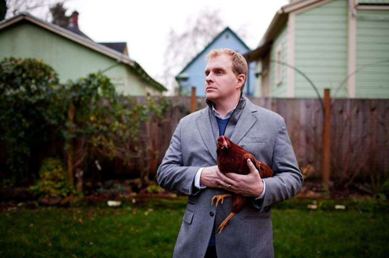 by: TRIBUNE PHOTO: CHRISTOPHER ONSOTT - Jefferson Smith 'predicts' that in 2013 Portland will open an off-leash chicken park for backyard farmers.