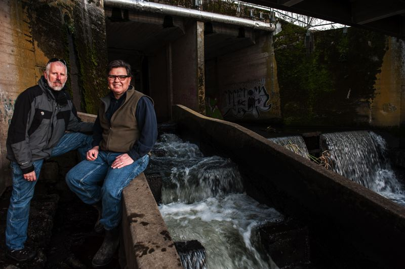 by: PHOTO COURTESY: MARK GAMBA - City Councilor Mark Gamba (left) and Greg Baartz-Bowman hope their film, 'Un-Dam It! The Story of Kellogg Dam,' will generate more momentum for removing the dam after the Jan. 12 Watershed Event in Milwaukie.