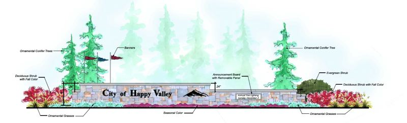 by: COURTESY: CITY OF HAPPY VALLEY - AKS Engineering & Forestry is getting a construction contract to build this 'monument' sign for the city of Happy Valley on Sunnyside Road.