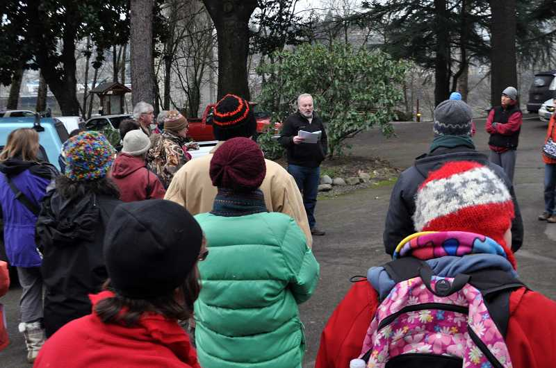 by: TONIA MCCONNELL - Despite the chilly weather, about 40 people participated in the first in a series of Centennial Heritage Walks.
