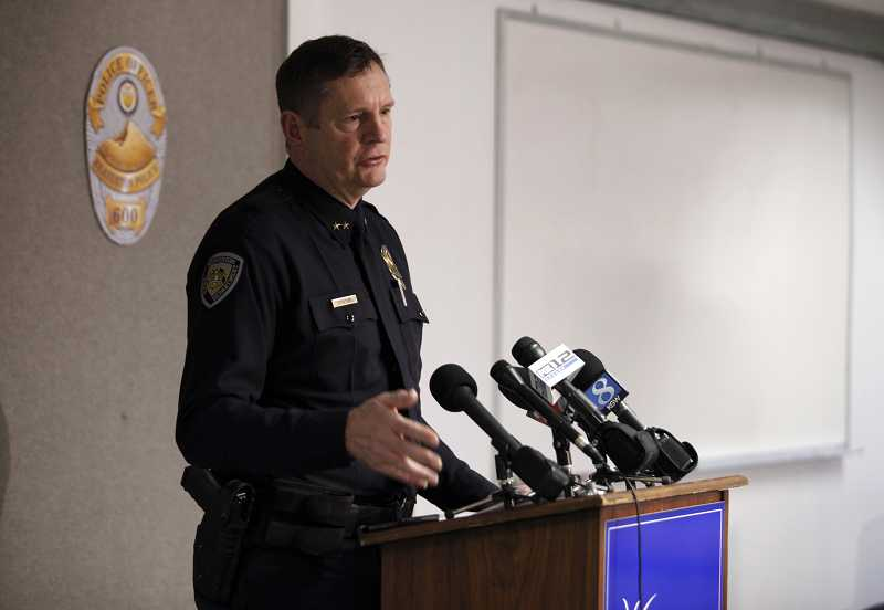 by: TIMES PHOTO/JONATHAN HOUSE  - Beaverton Police Chief Geoff Spalding briefs members of the news media at City Hall on Friday, Jan. 4, after Robert Myers, 26, was arrested and charged in the murder of his 7-week-old infant son, Aden Ross Myers.