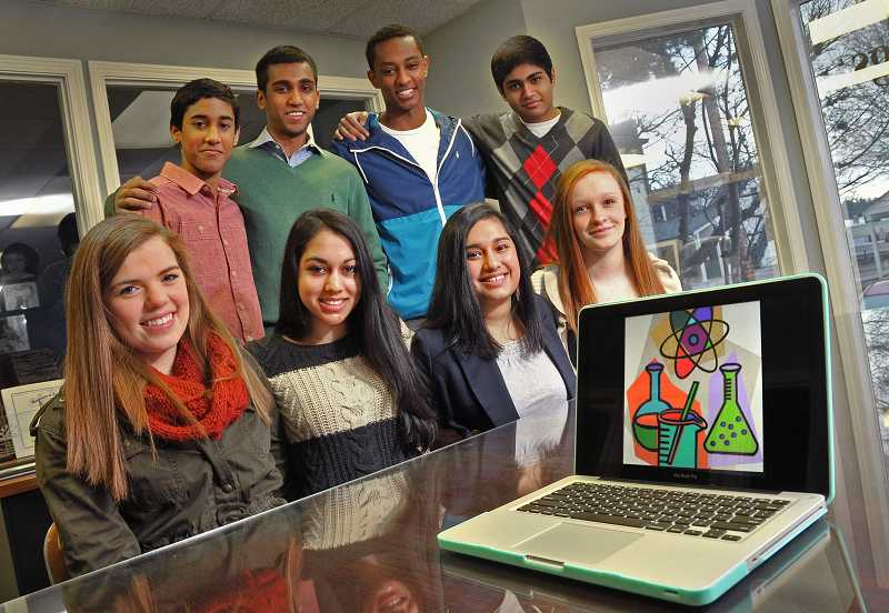 by: REVIEW PHOTOS: VERN UYETAKE - Portland Junior Scientists include, front row from left, Ellen Walker, Meghana Rao, Tara  Raizada, Jordan  Calverley and back row from left, Fitsum Dejene, Sunjay Mouli, Samir Shah and Arjan Mouli.
