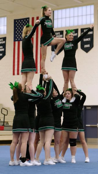 by: CONTRIBUTED PHOTO - Members of the Estacada High School cheerleading squad competed at the Lake Oswego Rumble Invitational Saturday, Dec. 15.