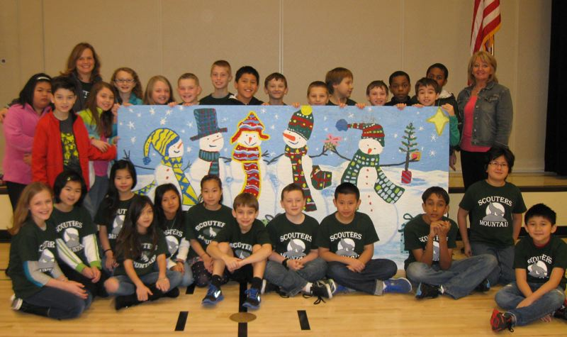 by: SUBMITTED - The winning fourth-grade class at Scouters Mountain Elementary in Happy Valley is pictured with their art.